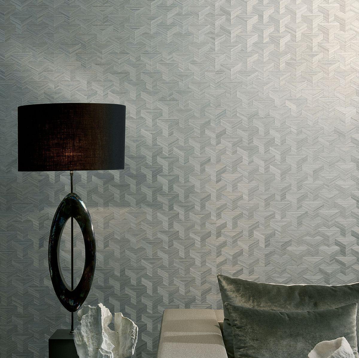 Vlies Sisal Tapete Heliodor Cube Silber Grau 49006 Heliodor
