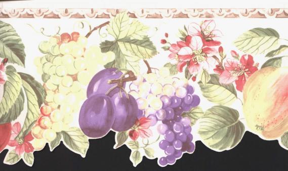 Bordüre mit Blättern und Früchten 03001