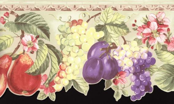 Bordüre mit Blättern und Früchten 03003