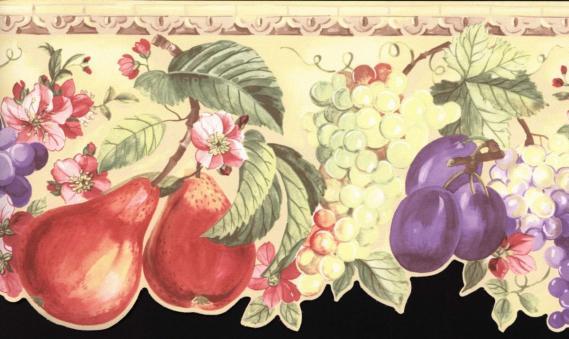Bordüre mit Blättern und Früchten 03004