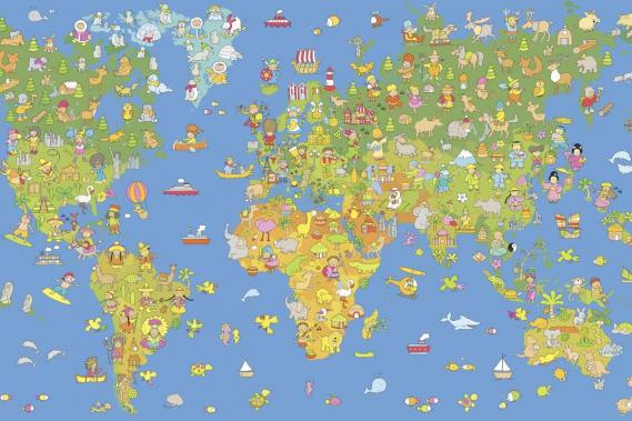 Mural children with world map 0351-7