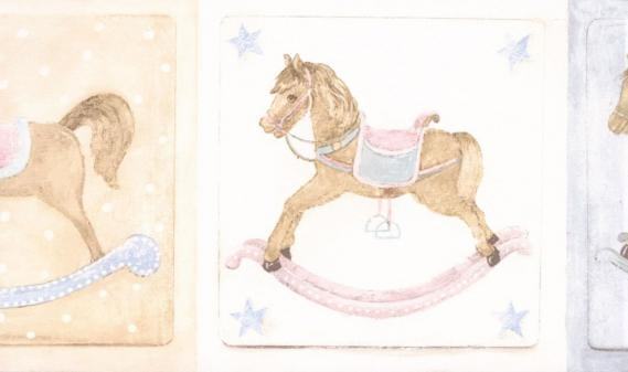 childrens border with rocking horses LW79178