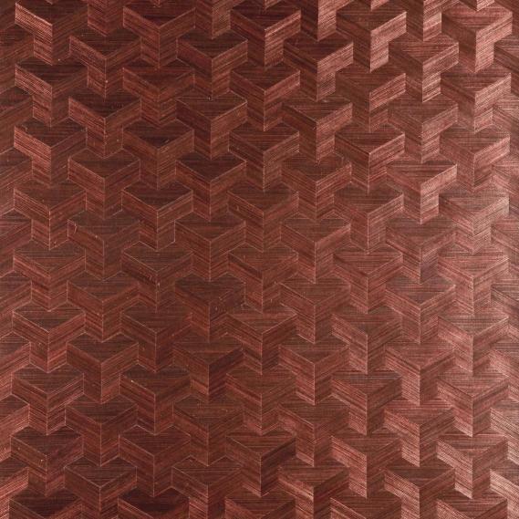Vlies Sisal Tapete Heliodor Cube Dunkelrot 49001