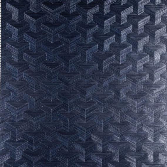 Vlies Sisal Tapete Heliodor Cube Dunkelblau 49002