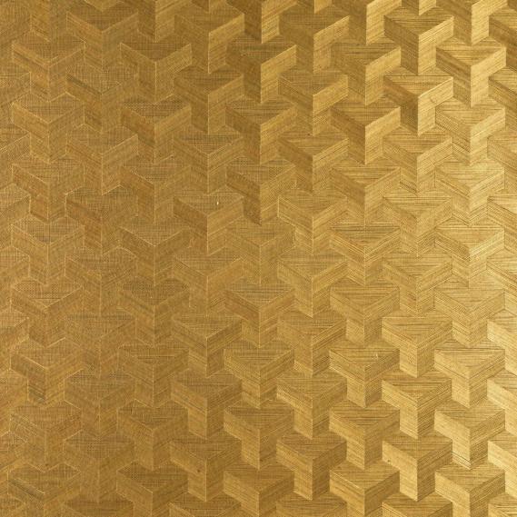 Vlies Sisal Tapete Heliodor Cube Gold 49004