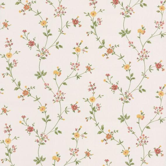 Flat vinyl wallpaper with flower tendrils 49220