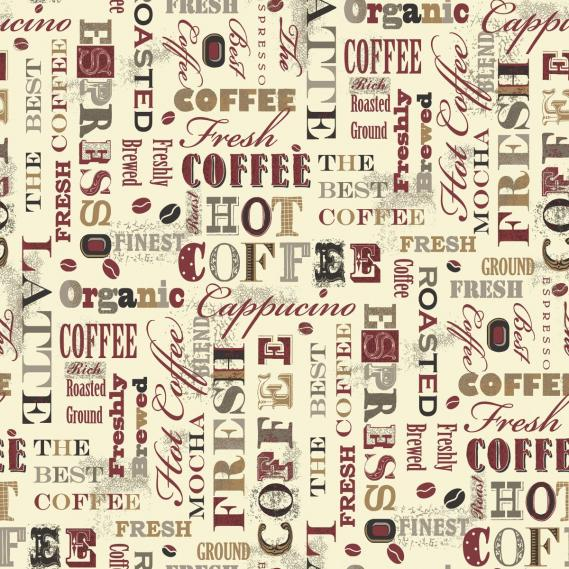 non-woven vinyl wallpaper with coffee motifs G12053