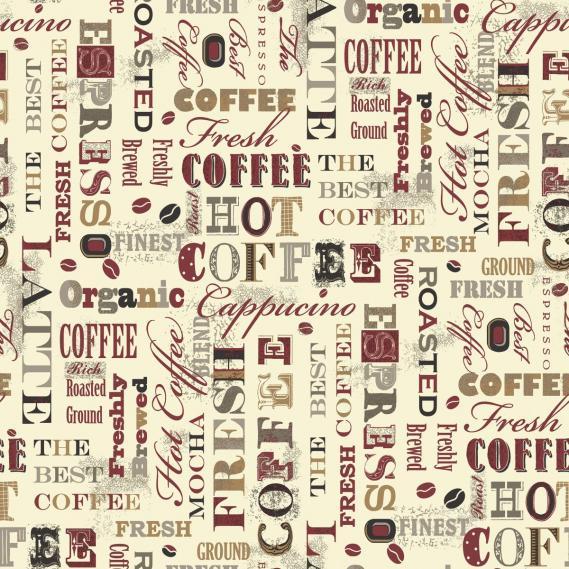 Vlies Vinyltapete mit Kaffee-Motiven G12053