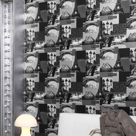 paper-backing wallpaper with Parisian motifs 11096309