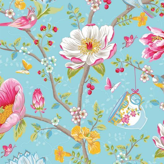 non-woven wallpaper Eijffinger Pip 3 flowers birds 341002