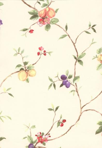 non-woven vinyl wallpaper with tendrils and fruits 52102