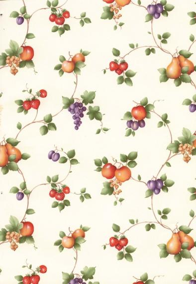non-woven vinyl wallpaper with tendrils and fruits 55501
