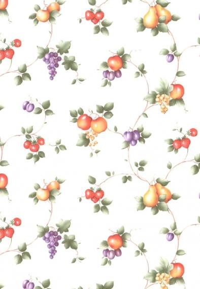 non-woven vinyl wallpaper with tendrils and fruits 55505
