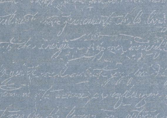 non-woven wallpaper handwriting blue silver 15511