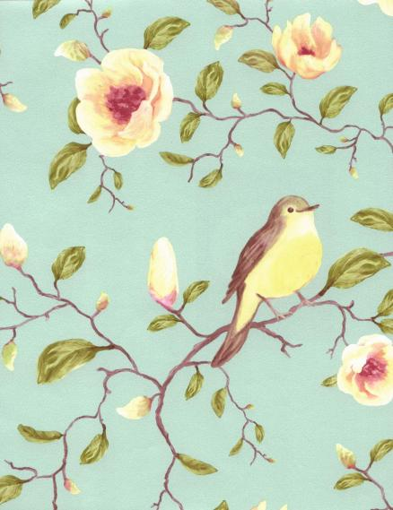 non-woven wallpaper birds flowers turquoise 310013