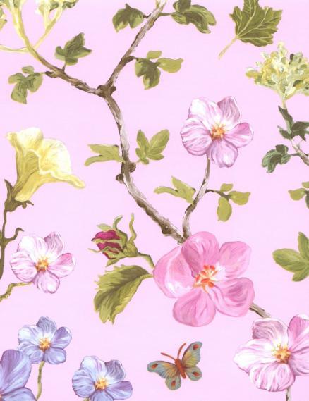 hochwertige tapeten und stoffe vliestapete schmetterlinge blumen rosa 310032 decowunder. Black Bedroom Furniture Sets. Home Design Ideas