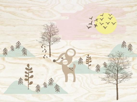 Wandbild Toit Petit Eijffinger Bambi in the wood 354157