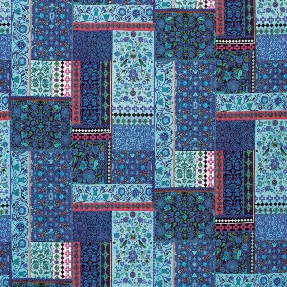 Dekostoff Matthew Williamson Belvoir Folklore F7121-04 Patchwork indigo, türkis