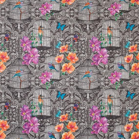 Dekostoff Matthew Williamson Belvoir Orangery F7122-01 schwarz, bunt