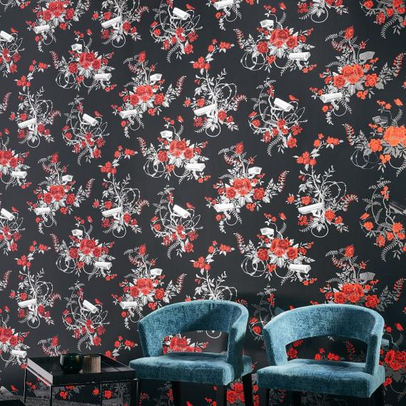 Vliestapete Vigilant Floral Arte Flavor Paper FP1051 knallrot / silber hochglänzend / schwarz
