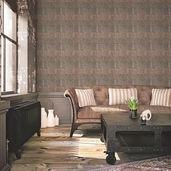 non-woven wallpaper Galerie Grunge tile look