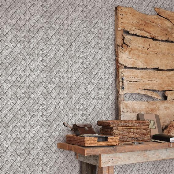 non-woven wallpaper Galerie Grunge grid
