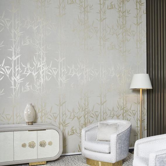 Arte metallics non-woven wallpaper Metal X Signum Natura 37620 light gray / gold / satin lacquer