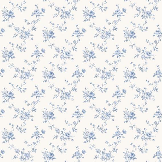 vinyl wallpaper on non-woven Miniatures 2 roses G67892 light blue / white