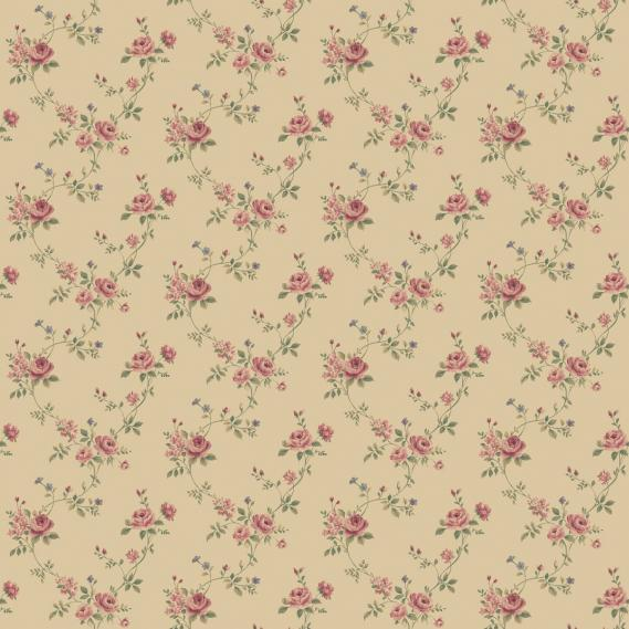vinyl wallpaper on non-woven Miniatures 2 roses G67894 red / green / sand colored