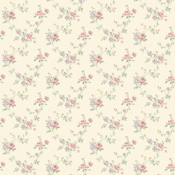 vinyl wallpaper on non-woven Miniatures 2 roses G67895 colorful / cream