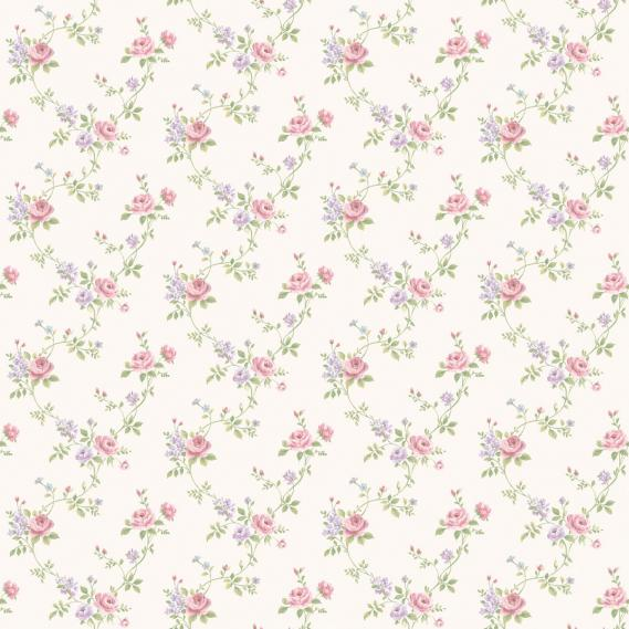 vinyl wallpaper on non-woven Miniatures 2 roses G67896 colorful