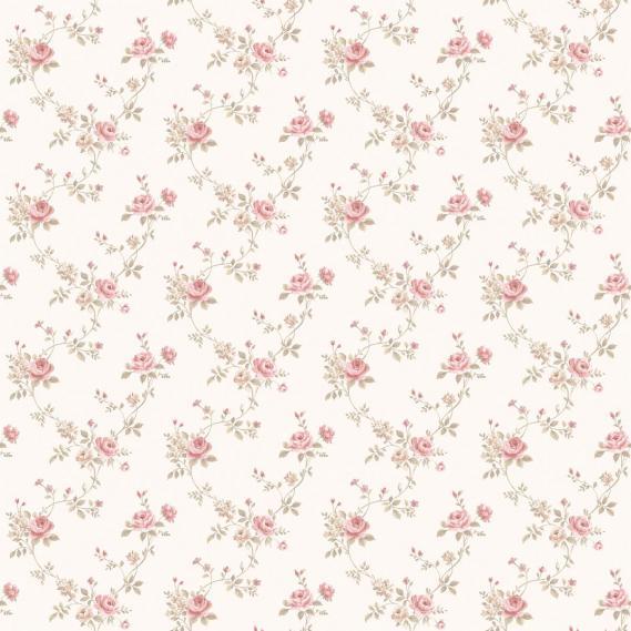 vinyl wallpaper on non-woven Miniatures 2 roses G67897 rose / light brown / white