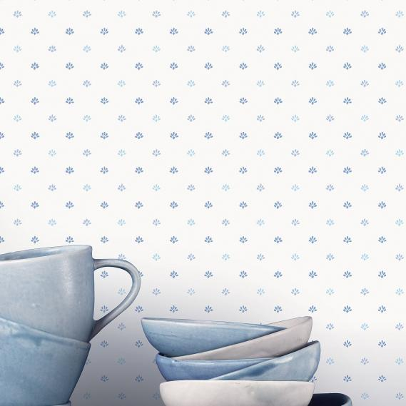 vinyl wallpaper on non-woven Miniatures 2 small pattern G67898 blue / white