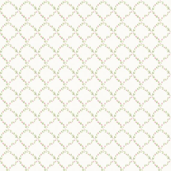 vinyl wallpaper on non-woven Miniatures 2 leaves rhombuses G67905 rose / green / white