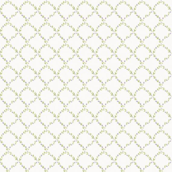 vinyl wallpaper on non-woven Miniatures 2 leaves rhombuses G67906 purple / green / white