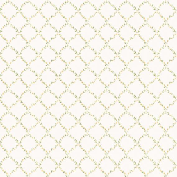 vinyl wallpaper on non-woven Miniatures 2 leaves rhombuses G67907 beige / green / white