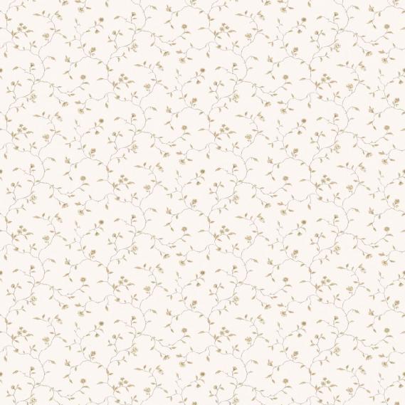 vinyl wallpaper on non-woven Miniatures 2 flower tendrils G67924 light brown / white