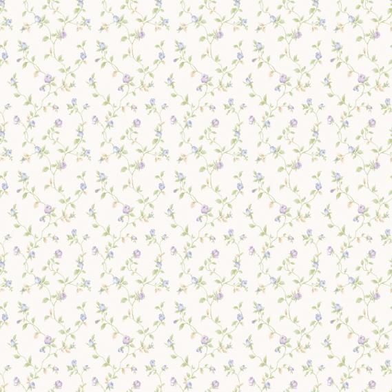 vinyl wallpaper on non-woven Miniatures 2 little roses G67935 purple / light green / white