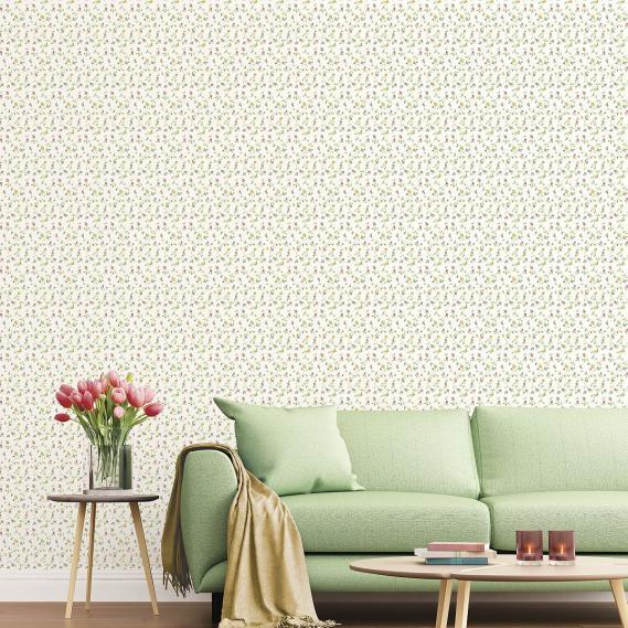 vinyl wallpaper on non-woven Miniatures 2 little roses G67936 colorful / white