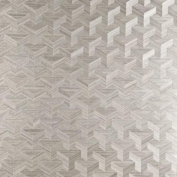Vlies Sisal Tapete Heliodor Cube Silber Grau 49006