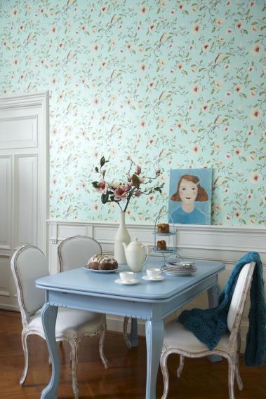 hochwertige tapeten und stoffe vliestapete v gel blumen t rkis 310013 decowunder. Black Bedroom Furniture Sets. Home Design Ideas