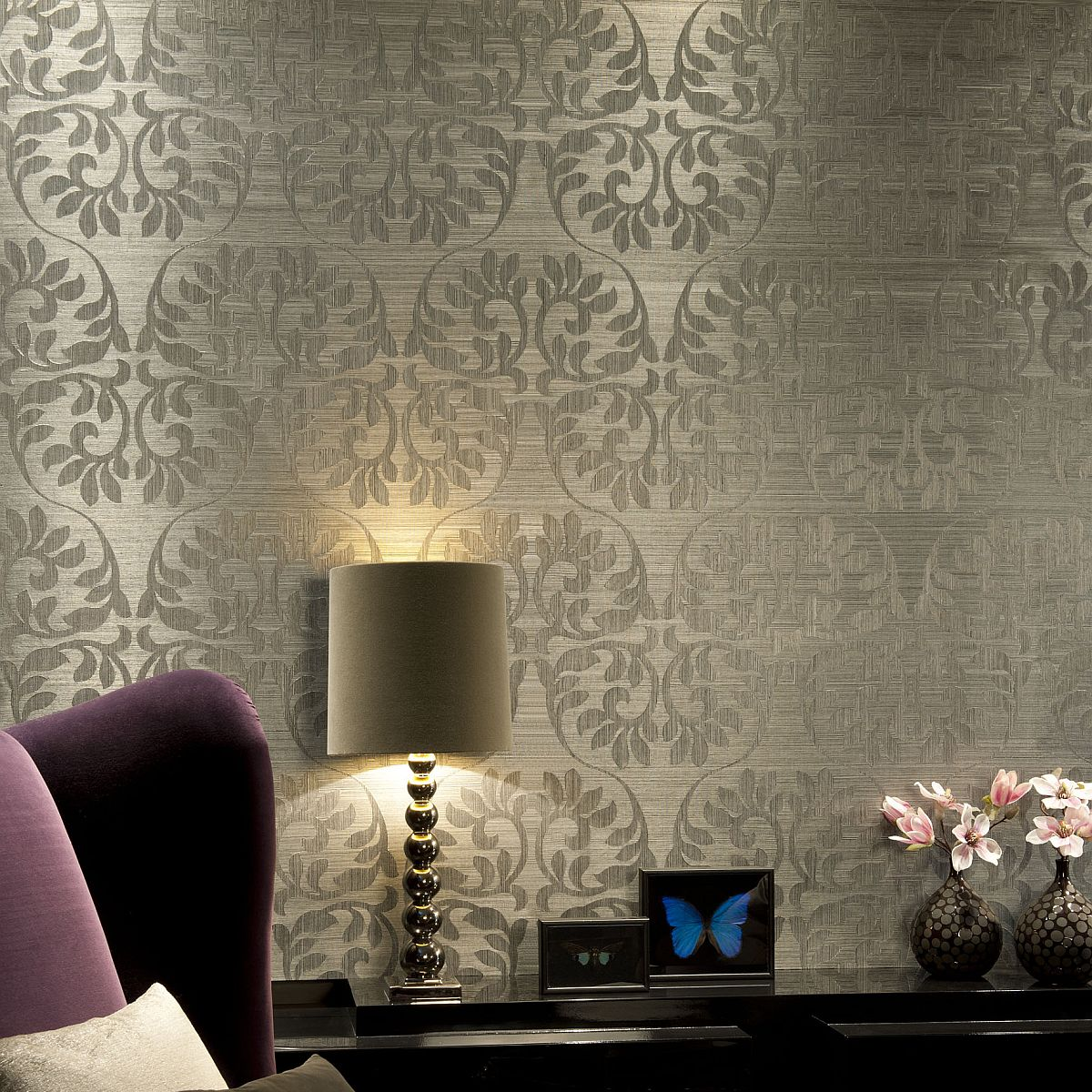 vlies sisal tapete heliodor leaf silber grau 49052 heliodor decowunder. Black Bedroom Furniture Sets. Home Design Ideas