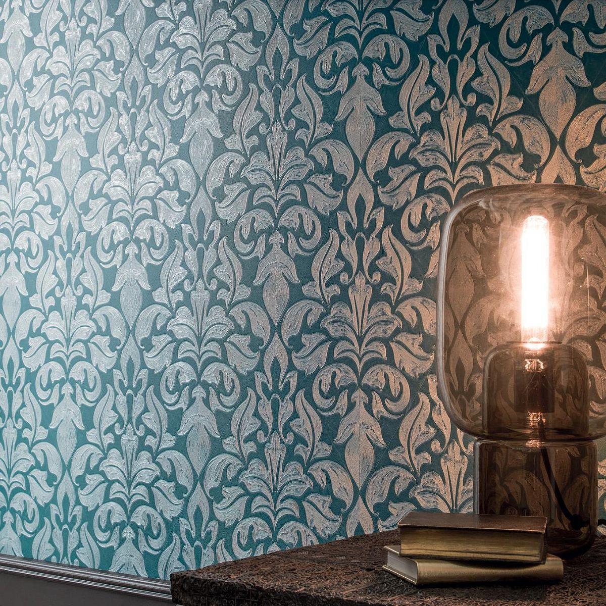 vinyltapete regence damast webstruktur gr n 90710481. Black Bedroom Furniture Sets. Home Design Ideas